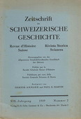 Zeitschrift, Schweizerische Geschichte 1939/2