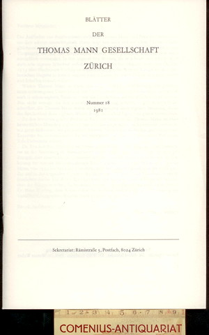 Blaetter der .:. Thomas-Mann-Gesellschaft 18/1981