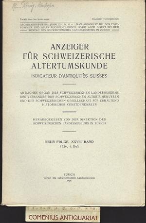 Anzeiger .:. Schweizerische Altertumskunde 28/4