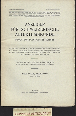 Anzeiger .:. Schweizerische Altertumskunde 33/3